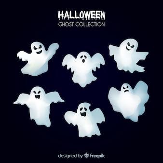 Halloweenowa duch kolekcja w płaskim projekcie