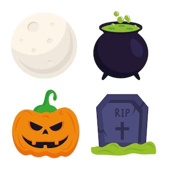 Halloweenowa dynia grób czarownicy miska i księżyc projekt, motyw halloween.