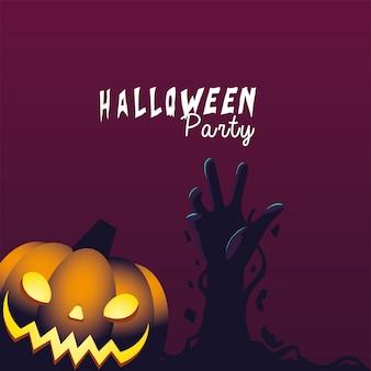 Halloweenowa dynia i projekt ręka zombie, wakacje i straszna ilustracja motywu
