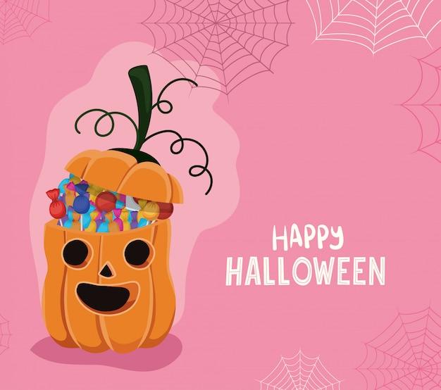 Halloweenowa dynia kreskówka z cukierkami i pajęczyną, motywem świątecznym i przerażającym