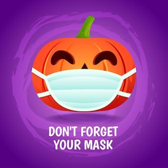 """Halloweenowa dynia nosić maskę """"nie zapomnij swojej maski"""" ilustracja koncepcja"""