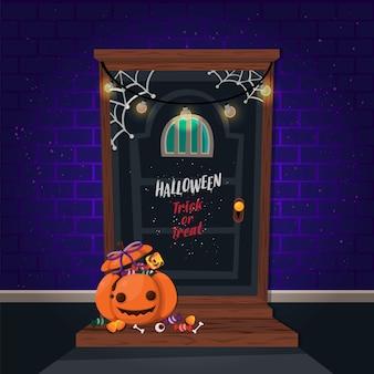 Halloweenowa dynia pionowa i nawiedzony dom. szablon ulotki lub zaproszenia na imprezę halloween.