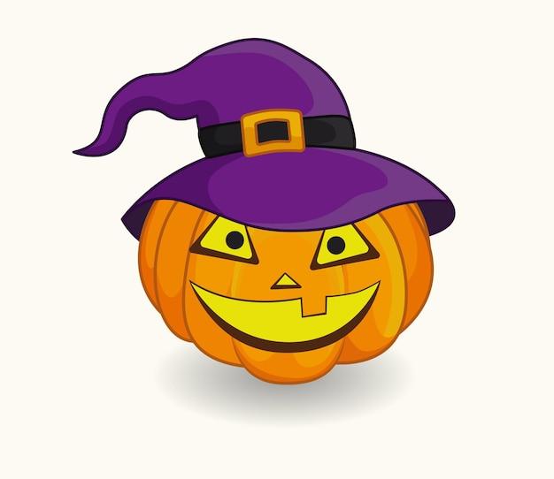 Halloweenowa dynia w fioletowym kapeluszu wiedźmy szczęśliwa twarz dyni na białym tle