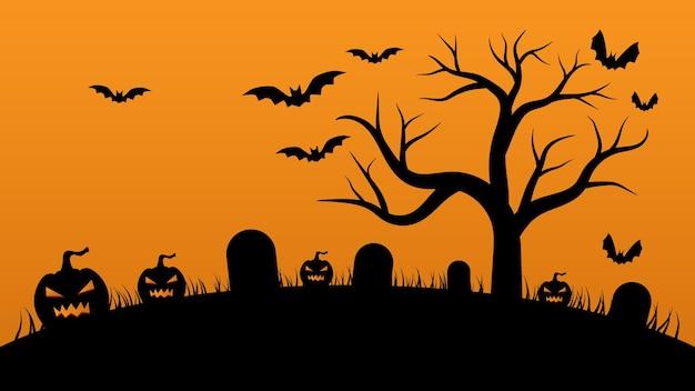 Halloweenowa dynia w tle z nietoperzami i nagim drzewem na pomarańczowym tle