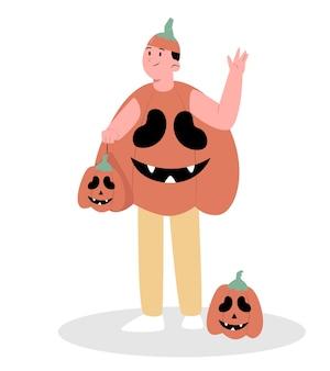 Halloweenowa dynia z dynią kostiumową człowieka