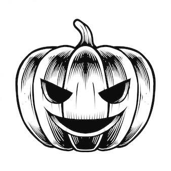 Halloweenowa dyniowa ilustracja i koszulka projekt