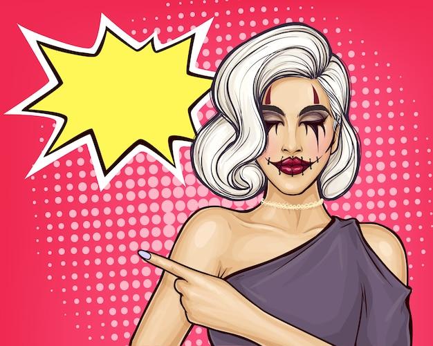 Halloweenowa dziewczyna pop-artu z przerażającym makijażem
