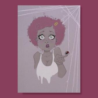 Halloweenowa dziewczyna z pająkiem na palcu