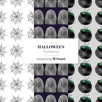 Halloweenowa elementu wzoru kolekcja w akwareli