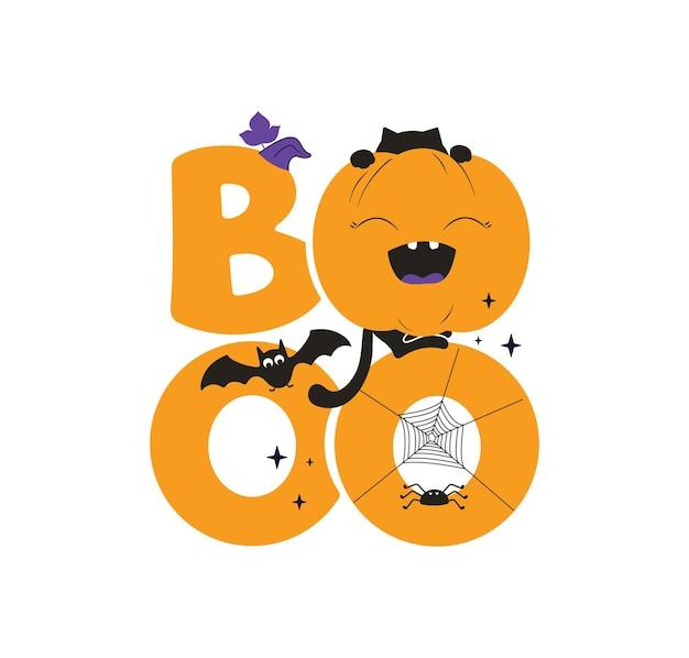 Halloweenowa fraza boo jesienny cytat z kotem dyniowym nietoperzem i pająkiem na świąteczne wzory
