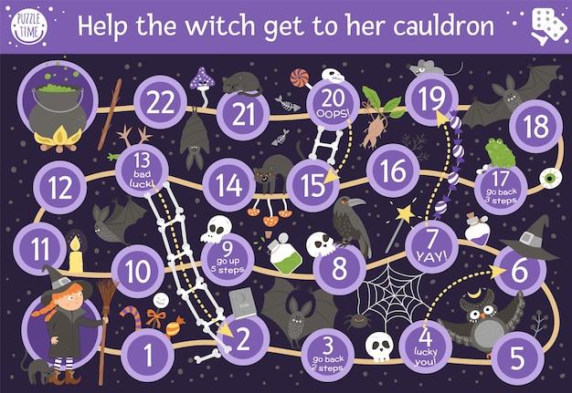 Halloweenowa gra planszowa dla dzieci z uroczymi czarownicami i przerażającymi zwierzętami. edukacyjna gra planszowa z nietoperzem, miotłą, czarnym kotem, pająkiem. pomóż wiedźmie dostać się do jej kociołka. zabawna aktywność do druku.