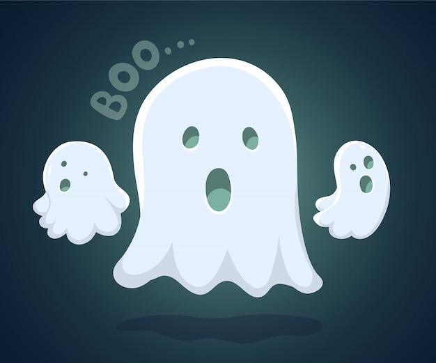 Halloweenowa ilustracja biały latanie trzy duchy