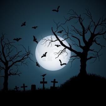 Halloweenowa ilustracja cmentarz przy nocą
