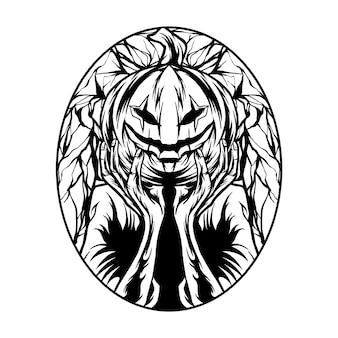 Halloweenowa ilustracja czarno-biała