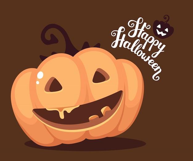 Halloweenowa ilustracja dekoracyjna pomarańczowa bania z otwartym usta