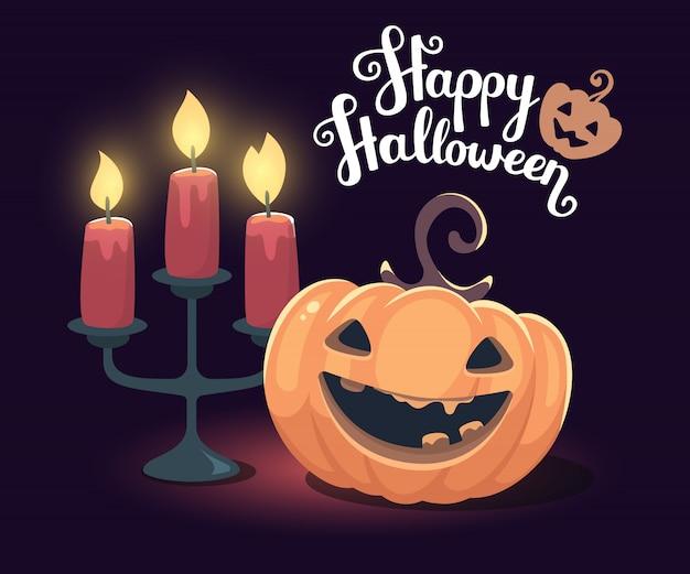 Halloweenowa ilustracja dekoracyjna pomarańczowa bania z świecznika posiadaczem