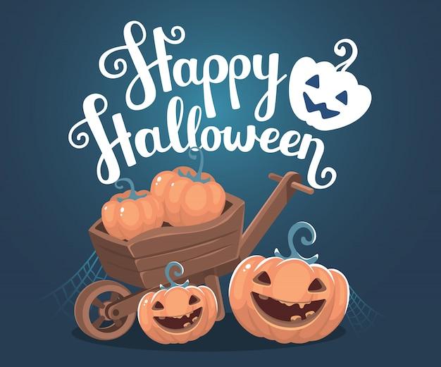 Halloweenowa ilustracja dekoracyjne pomarańczowe banie w drewnianym taczce