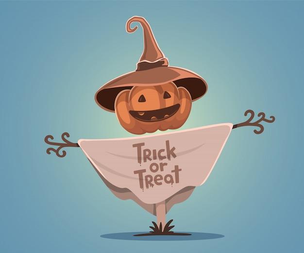Halloweenowa ilustracja dekoracyjny strach na wróble z kierowniczą pomarańczową banią