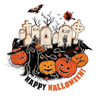 Halloweenowa ilustracja koła