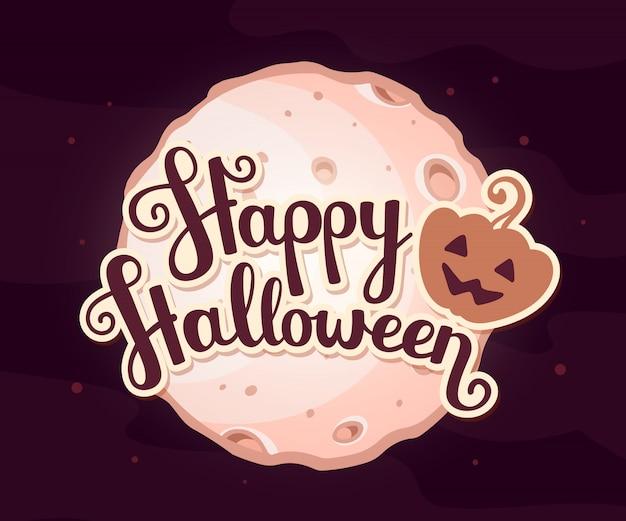 Halloweenowa ilustracja księżyc w pełni światło z kraterami i tekstem