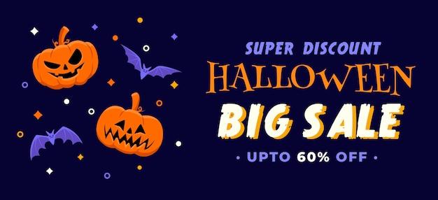 Halloweenowa ilustracja na duży baner zniżki sprzedaży w płaskiej konstrukcji