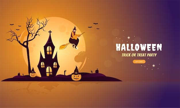 Halloweenowa ilustracja na koncepcji transparentu