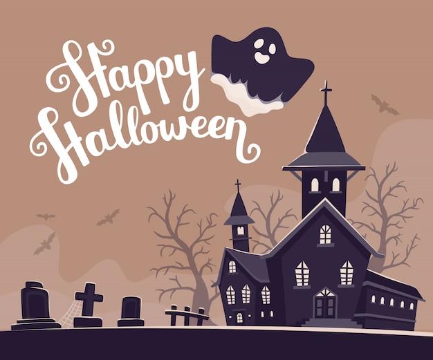 Halloweenowa ilustracja nawiedzający dom