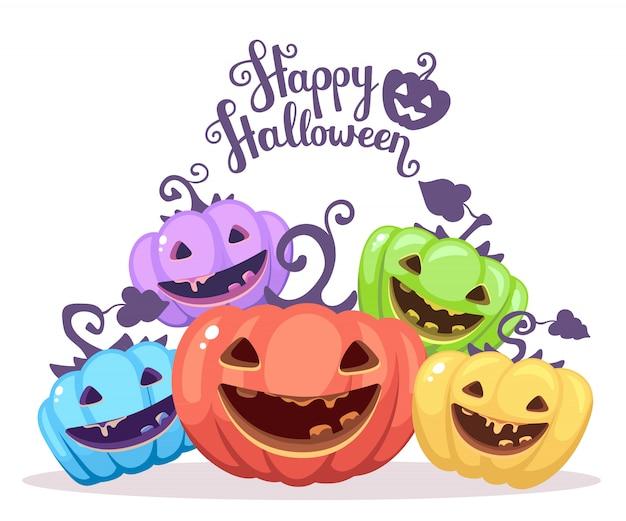 Halloweenowa ilustracja rozsypisko dekoracyjne banie różni kolory
