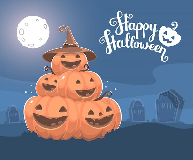 Halloweenowa ilustracja stos dekoracyjne pomarańczowe banie z otwartym usta