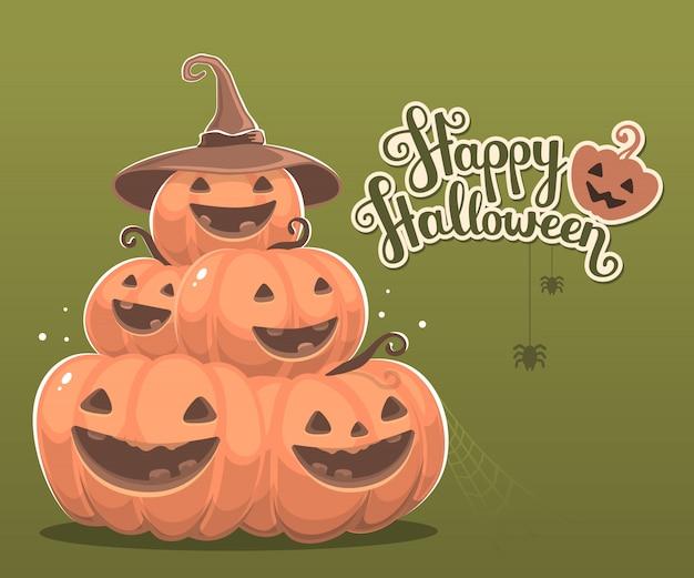 Halloweenowa ilustracja stos dekoracyjne pomarańczowe banie z uśmiechami