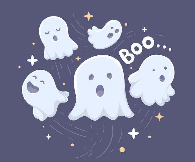 Halloweenowa ilustracja wiele biali latający duchy