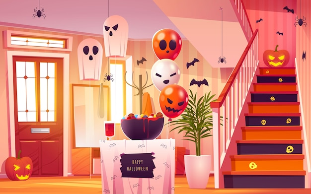 Halloweenowa ilustracja wnętrza hali kreskówki