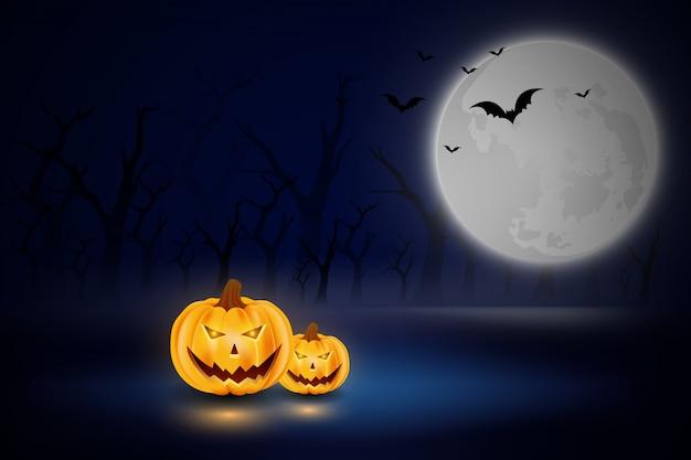 Halloweenowa ilustracja z baniami i księżyc w lesie