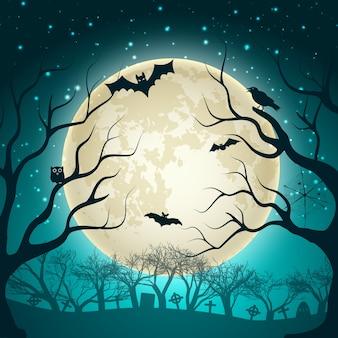 Halloweenowa ilustracja z dużą świecącą kulą księżyca na nocnym niebie i nietoperzach w magicznym lesie
