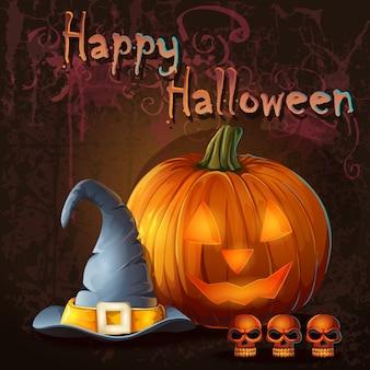 Halloweenowa ilustracja z dynią, czaszką, czapką