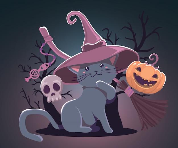 Halloweenowa ilustracja z pomarańczową banią i kotem w czarownica kapeluszu