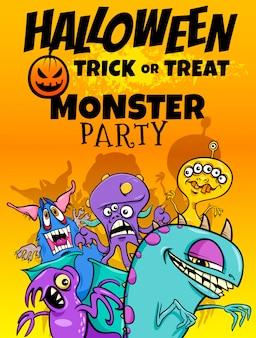 Halloweenowa ilustracja z potworami