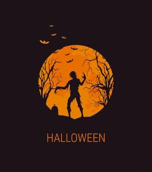 Halloweenowa ilustracja z zombie