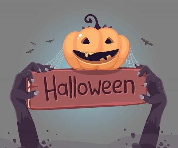 Halloweenowa ilustracja żywy trup ręka z drewnianą deską