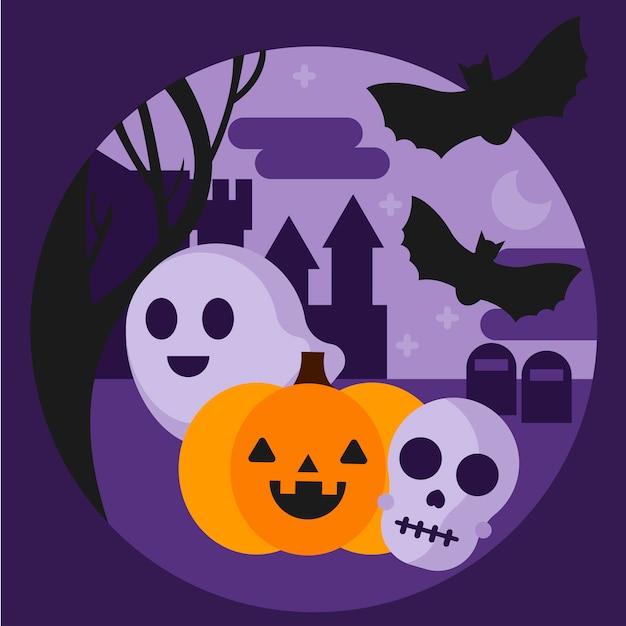 Halloweenowa Ilustracja Darmowych Wektorów