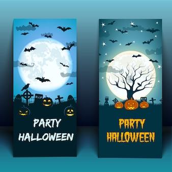 Halloweenowa impreza na cmentarzu z ptakami latarniami jack moon