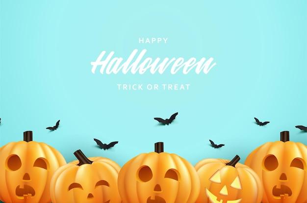 Halloweenowa impreza z dyni na niebieskim tle nieba