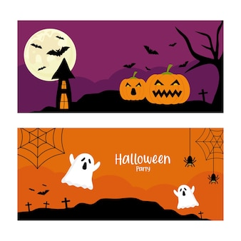 Halloweenowa impreza z projektem bajek dyni i duchów, motyw halloween.