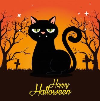 Halloweenowa karta z czarnym kotem na cmentarzu