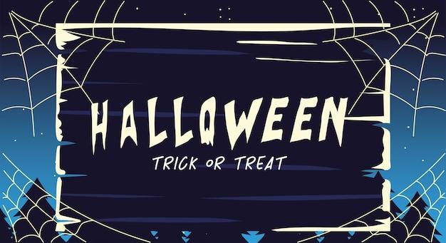 Halloweenowa karta z etykietą cukierek albo psikus projekt ilustracji