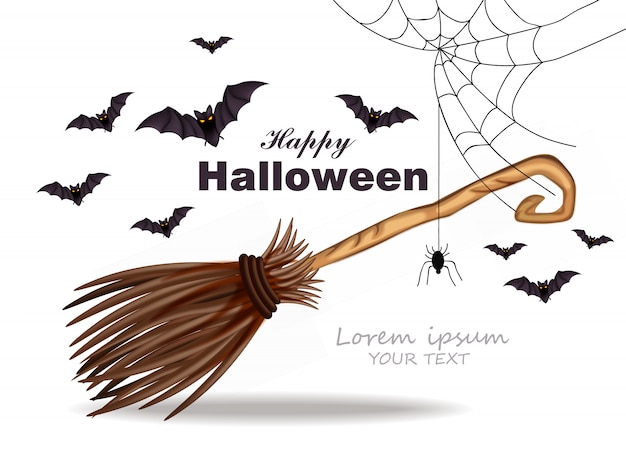Halloweenowa karta z pająk sieci dekoracją
