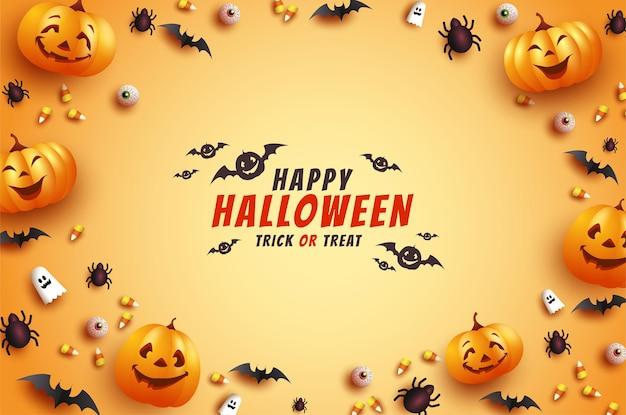 Halloweenowa kartka z życzeniami z przerażającymi nietoperzami i dyniami
