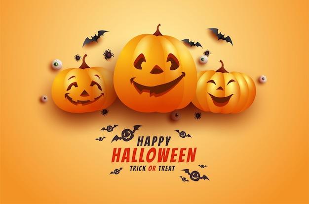 Halloweenowa Kartka Z życzeniami Z Przerażającymi Nietoperzami I Dyniami Premium Wektorów