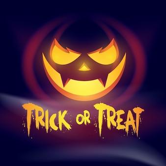 Halloweenowa kartka z życzeniami z rzeźbioną dynią. cukierek albo psikus