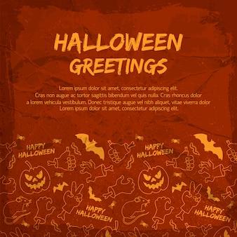 Halloweenowa kartka z życzeniami ze zwierzętami latarnie jack rąk z kośćmi na teksturowanej czerwonym tle